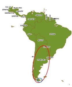 パタゴニアとプエルトウィリアムズの位置